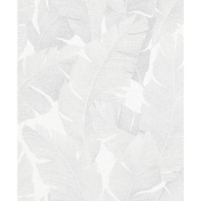 Attalea White Palm Leaf Strippable Wallpaper Covers 57.5 sq. ft.