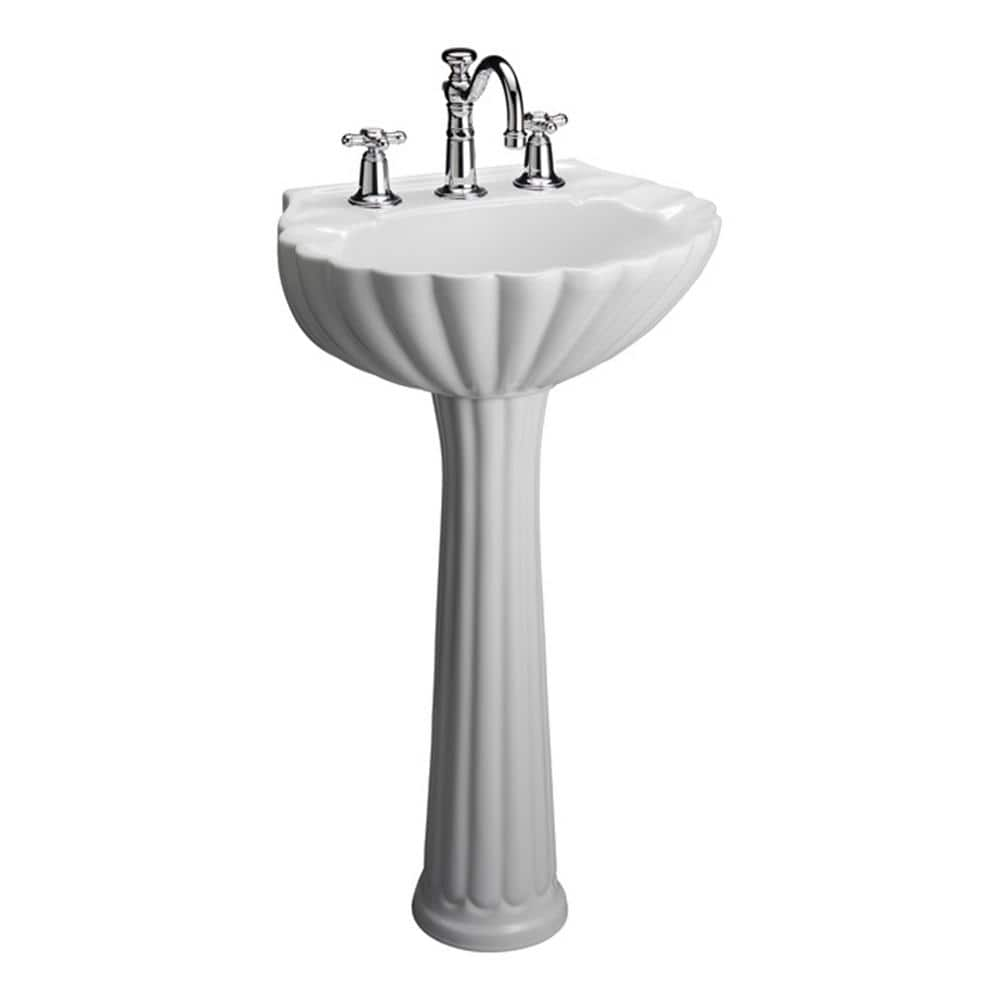 Pegasus Bali 19 In Pedestal Combo Bathroom Sink For 8 Widespread White 3 588wh The Home Depot