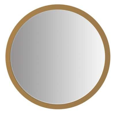 Medium Round Brown Modern Mirror (31.5 in. H x 31.5 in. W)