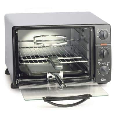 Cuisine 0.8 cu. ft. Black Toaster Oven Broiler with Rotisserie