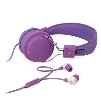 2-in-1 Combo Pack Stereo Headphones and Earphones in Purple