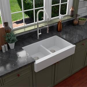 Retrofit Farmhouse Apron Front Quartz Composite 34 in. Double Bowl Kitchen Sink in White