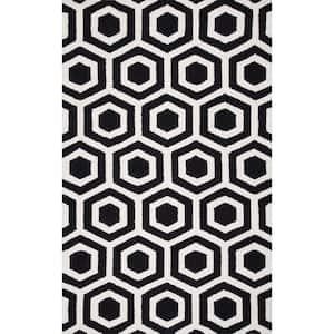 Mayra Honeycomb Trellis Black 8 ft. x 10 ft. Area Rug