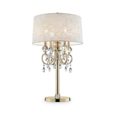 32.5 in. Gold Aurora Barocco Shade Crystal Table Lamp