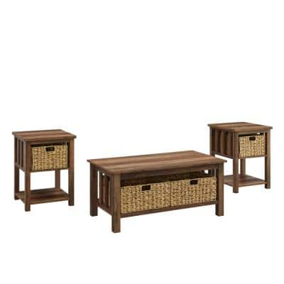 3-Piece Reclaimed Barnwood Mission Storage Coffee and Side Table Set with Baskets