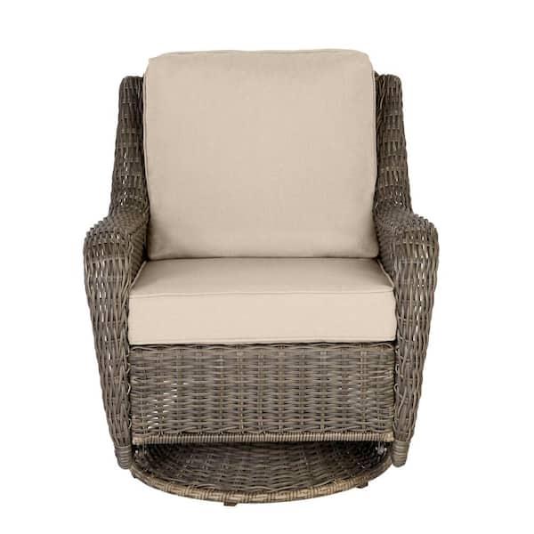 Hampton Bay - Cambridge Gray Wicker Outdoor Patio Swivel Rocking Chair with Sunbrella Beige Tan Cushions
