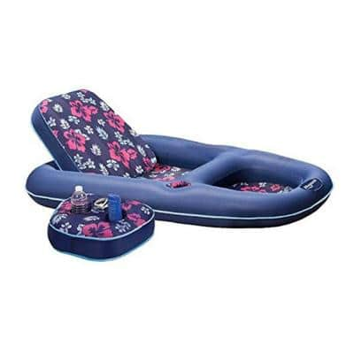 Campania Convertible 2-in-1 Pool Float Lounge/Caddy, Navy Hibiscus