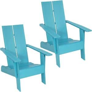Carnlough Blue Outdoor Modern Adirondack Patio Chair (Set of 2)