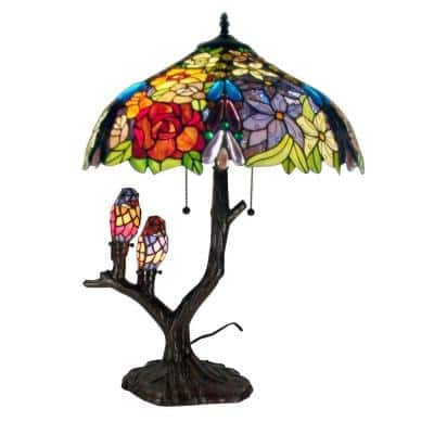 25 in. Floral Birds Multicolored Brown Table Lamp