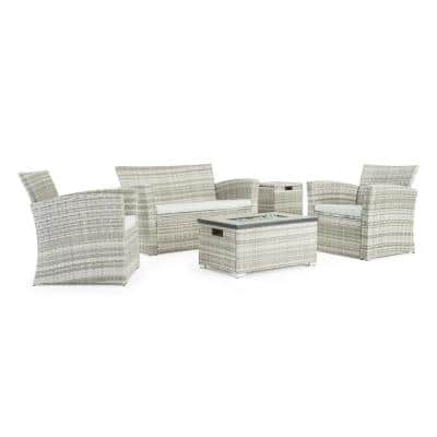 Magna Grey 4-Piece Wicker Patio Fire Pit Conversation Set with Grey Cushions