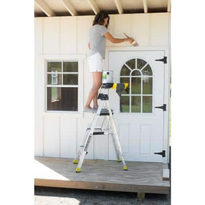 4.5 ft. Aluminum Dual Platform Heavy-Duty Ladder with Project Bucket (9 ft. Reach), 300 lb. Capacity Type IA Duty Rating