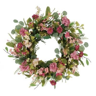 24 in. Artificial Chrysanthemum and Hydrangea Floral Spring Wreath