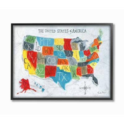 """16 in. x 20 in. """"Colorful World Map of USA Kids Nursery Painting"""" by Farida Zaman Framed Wall Art"""