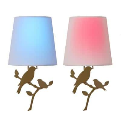 Olive Battery Operated Wall Light Bird Integrated LED Sconce (2-Pack)