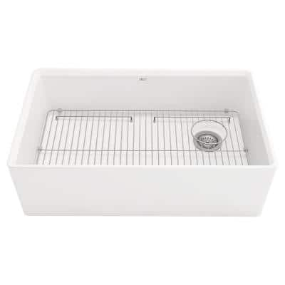 Avery Dual Mount Apron-Front Fireclay 33 in. Single Bowl Kitchen Sink in Alabaster White