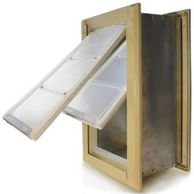 6 in. W x 10 in. L Small Double Flap for Walls with Tan Aluminum Frame
