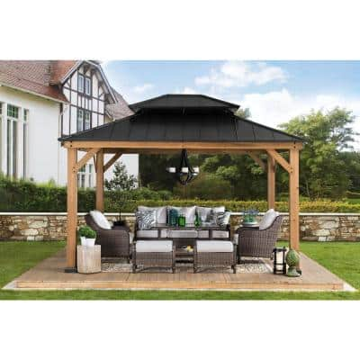 Crownhill 11 ft. x 13 ft. Hardtop Gazebo with Wood posts