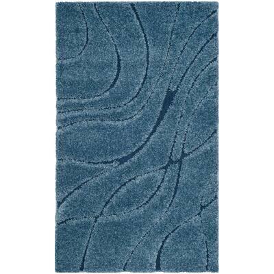 Florida Shag Light Blue/Blue 3 ft. x 5 ft. Solid Area Rug