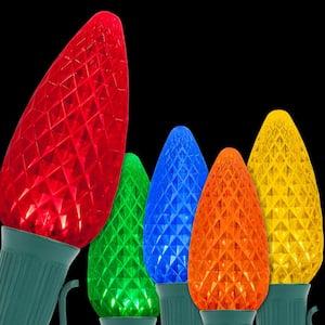OptiCore 24 ft. 25-Light Multicolor LED Faceted C9 String Light Set