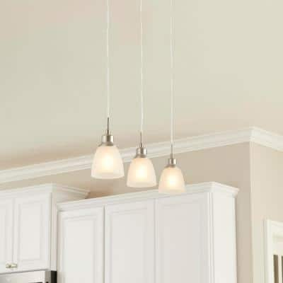 Riverbrook 1-Light Brushed Nickel Mini Pendant with Frosted White Glass Shade (3-Pack)