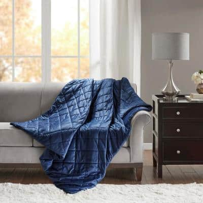 Luxury Indigo Quilted Mink 60 in. x 70 in. 12 lbs. Weighted Blanket