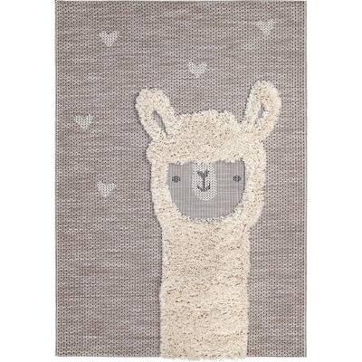 Llama Love Beige 4 ft. x 6 ft. Indoor/Outdoor Area Rug
