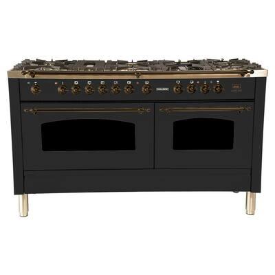 60 in. 6 cu. ft. Double Oven Dual Fuel Italian Range True Convection,8 Burners, LP Gas, Bronze Trim/Matte Graphite