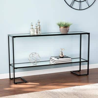Ochila 52 in. Black Rectangle Glass Console Table with Shelves