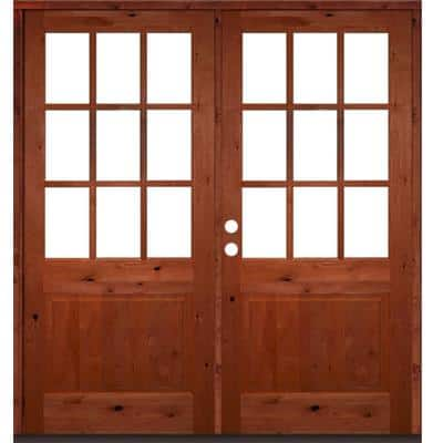 72 in. x 80 in. Craftsman Knotty Alder Wood Clear 9-Lite Red Chestnut Stain Right Active Double Prehung Front Door