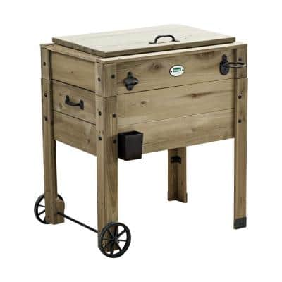 Barnwood 90 Qt. 2-Wheeled Chest Cooler with Cup Holder