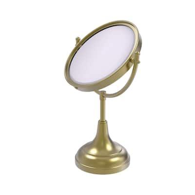 8 in. x 15 in. Vanity Top Makeup Mirror 4x Magnification in Satin Brass