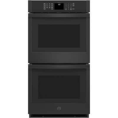 27 in. Smart Double Electric Wall Oven Self-Cleaning with Steam in Black