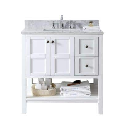 Winterfell 36 in. W Bath Vanity in White with Marble Vanity Top in White with Square Basin