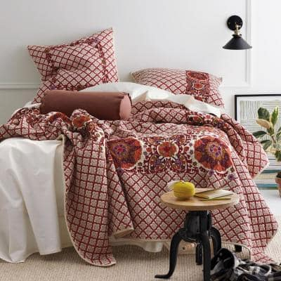 Thornwood Geometric Cotton Blend Embroidered Quilt