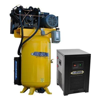Industrial PLUS 80 Gal. 7.5HP 208-Volt 3-Phase 2-Stage Silent Air Electric Pressure Lube Air Compressor and 30 CFM Dryer