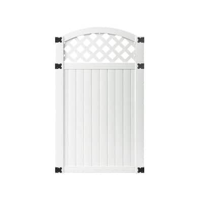 3-1/2 ft. W x 6 ft. H White Vinyl Lewiston Arched Lattice Top Fence Gate