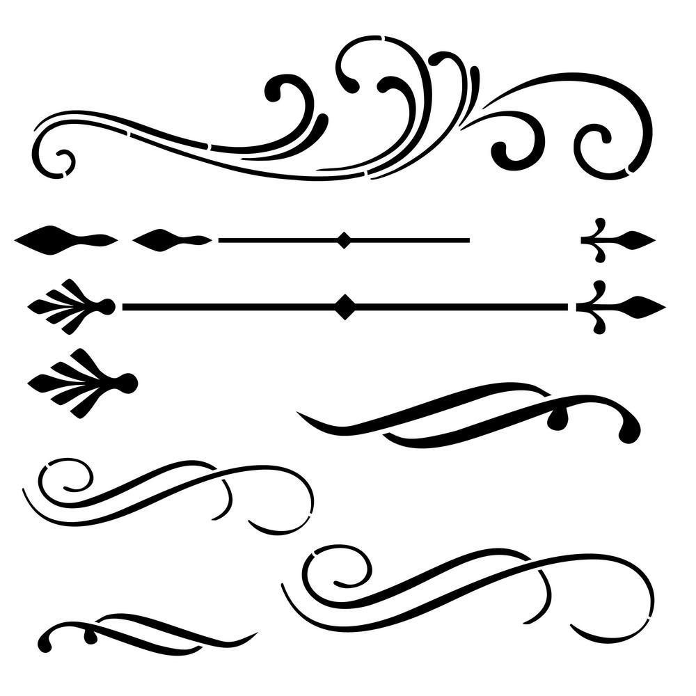 Scrolls and Flourishes Stencil Details