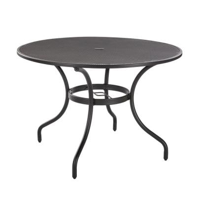 42 in. Mix and Match Black Mesh Metal Round Outdoor Patio Dining Table