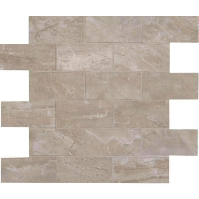 Onyx Pearl Brick 12 in. x 12 in. x 10mm Polished Porcelain Mesh-Mounted Mosaic Tile (8 sq. ft. / case)