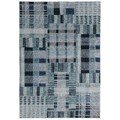 Audrey Blue Blue 2 Ft X 12 Ft Geometric Runner Rug 000796 The Home Depot