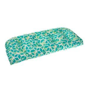 Cubed 44 in. x 19 in. x 5 in. Outdoor Rectangular Loveseat Cushion in Teal
