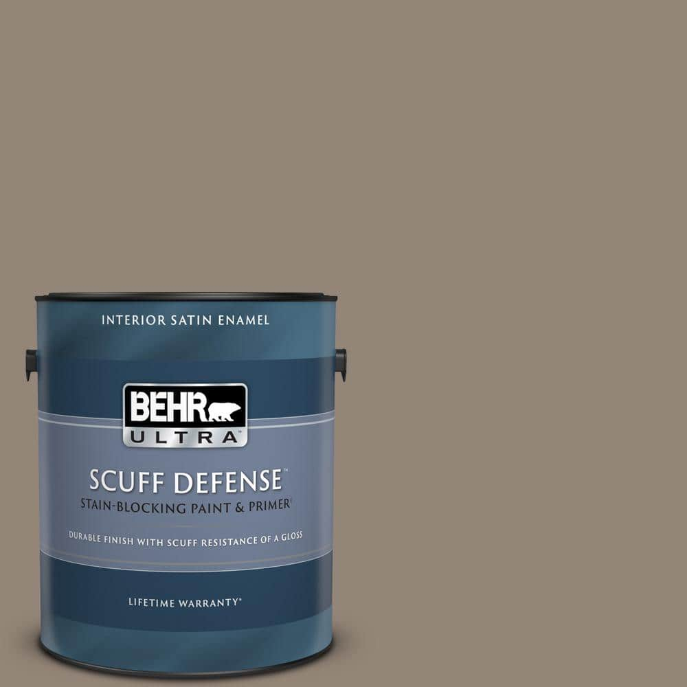 Behr Ultra 1 Gal N220 5 Ottertail Extra Durable Satin Enamel Interior Paint Primer 775401 The Home Depot