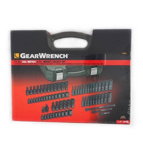 Gearwrench 1 4 In Drive Sae Metric Impact Socket Set 71 Piece 84903 The Home Depot