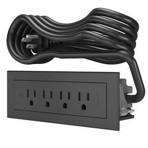 6 ft. Cord 15 Amp 4-Outlet Radiant Furniture Power Strip, Black