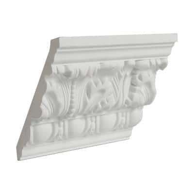 4-1/2 in. x 3-15/16 in. x 6 in. Long Egg and Dart Acanthus Polyurethane Crown Moulding Sample