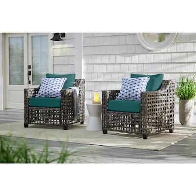 Briar Ridge Brown Wicker Outdoor Patio Deep Seating Lounge Chair with CushionGuard Malachite Green Cushions (2-Pack)