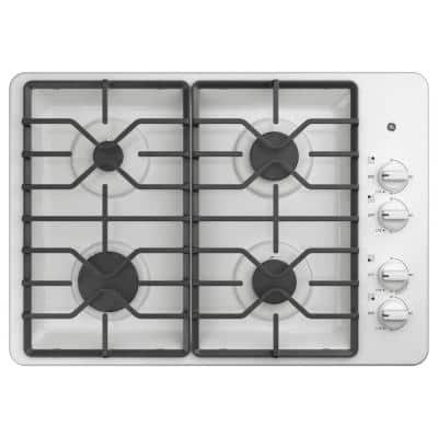 30 in. Built-In Gas Cooktop in White with 4 Burners Including Power Boil Burners
