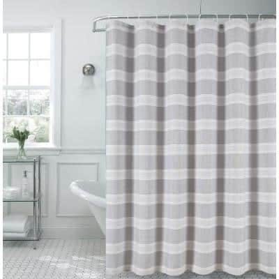 Madison 70 in. x 72 in. Silver Striped Fabric Shower Curtain