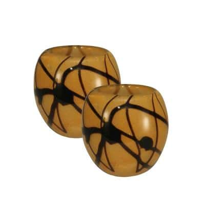 4 in. 2-Piece Amber Shell Mosaic Art Glass Candle Holders