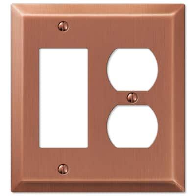 Metallic 2 Gang 1-Duplex and 1-Rocker Steel Wall Plate - Antique Copper